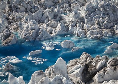Aerial Columbia Glacier, Prince William Sound, Chugach National Forest, Alaska.