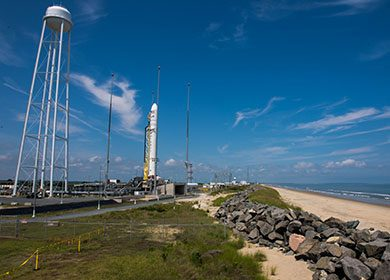 The Orbital Sciences Corporation Antares rocket, with the Cygnus spacecraft onboard. Courtesy of NASA and Aubrey Gemignani.