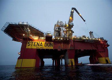 An arctic oil platform.