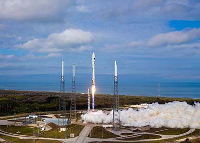 The United Launch Alliance Atlas V Rocket leaves Space Launch Complex 41 with the OTV-3. Courtesy of U.S. Air Force Senior Airman Brett Clashman.