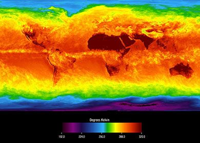 Climate engineering maybe be needed to combat Global Warming. Pictured is a simulation model for the average global brightness temperature for April 2003. Courtesy of NASA and JPL.