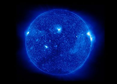 A filtered image of the sun comprised of blue wavelengths of light. Courtesy of NASA.