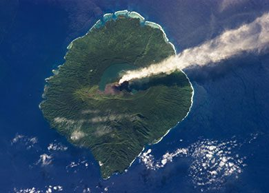 The erupting Gaua Volcano in the Vanuatu Archipelago. Courtesy of the NASA Earth Observatory.