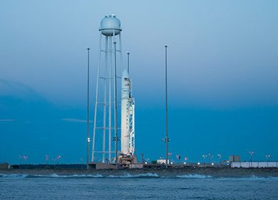 The Orbital ATK Antares rocket with the Cygnus spacecraft onboard. Courtesy of NASA and Bill Ingalls.