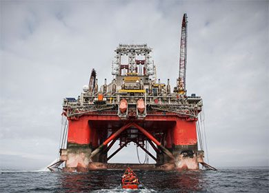 A oil rig off the coast of Norway.