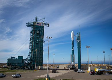 The United Launch Alliance Delta II rocket with the Soil Moisture Active Passive observatory onboard. Courtesy NASA and Bill Ingalls.