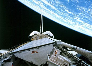 Space Shuttle Endeavour in orbit around the Earth. Credit NASA and JPL.