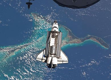 The Space Shuttle's final orbit around the Earth. Courtesy of NASA.