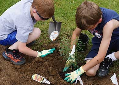 Two boys planting a tree during a restoration project. Courtesy of U.S. Fish and Wildlife Service and Gary Peeples.