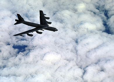 A B-52 Stratofortress from the 23rd Bomb Squadron, Minot Air Force Base N.D. Courtesy of U.S. Air Force Staff Sgt. Andy M. Kin.