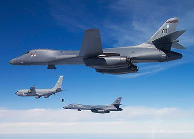 A B-1B Lancer refueled by a KC-135 Stratotanker. Courtesy of U.S. Air Force Staff Sgt. Andy M. Kin.