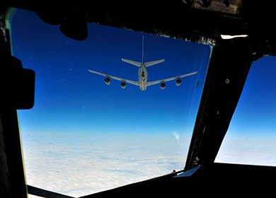 A B-52 Stratofortress aircraft before an 8hr sortie. Courtesy of U.S. Air Force Staff Sgt. Andy M. Kin.