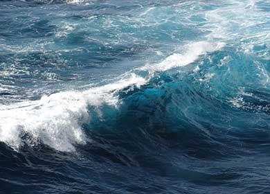Breaking waves whiten the ocean and increase its albedo.